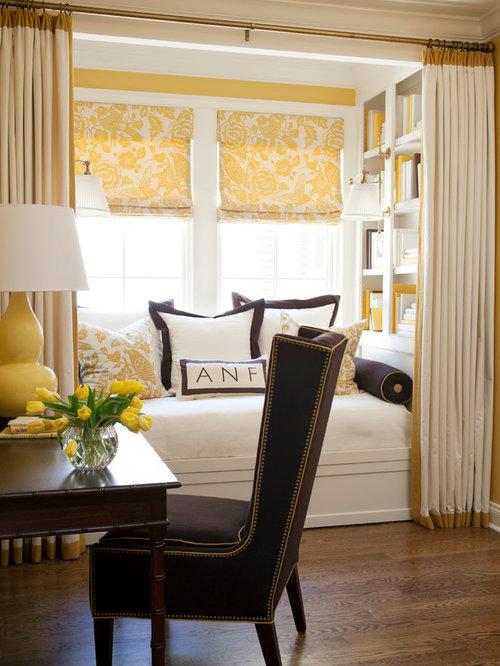 Office In Master Bedroom Part - 37: Transitional Master Dark Wood Floor Bedroom Idea In Little Rock With Yellow  Walls