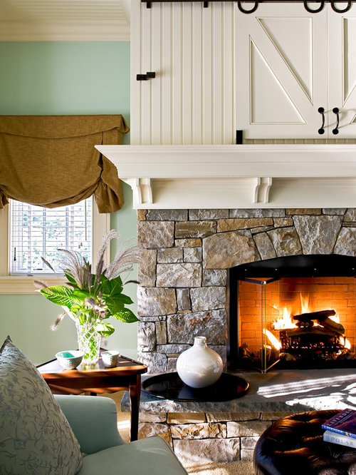 Inspiration For A Timeless Bedroom Remodel In New York With Green Walls, A Stone  Fireplace Part 43