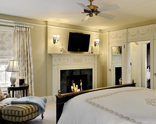 Marvelous Example Of A Classic Master Bedroom Design In New York With Beige Walls And  A Standard Part 10