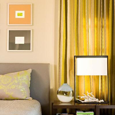 Bedroom - contemporary bedroom idea in Los Angeles with beige walls