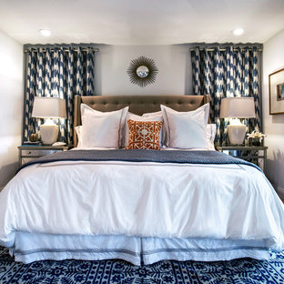 Mid-sized eclectic master carpeted bedroom photo in Dallas with gray walls