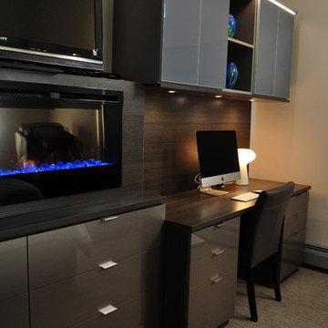Custom Bedroom Fireplace with Desk and Custom Dresser