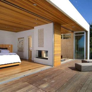 Ispirazione per un'ampia camera da letto contemporanea con pareti beige, camino bifacciale, cornice del camino in pietra e parquet chiaro