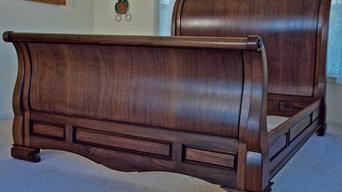 Custom, Handmade Sleigh Bed In Walnut
