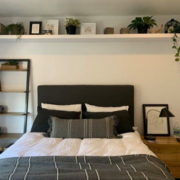 Custom headboard and built in shelf for plants and decor