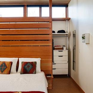 Bedroom - mid-sized modern master cork floor bedroom idea in Portland with white walls