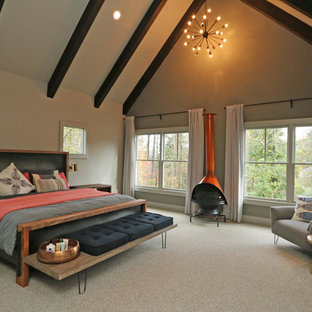 Design ideas for a large contemporary master bedroom in Atlanta with beige walls, carpet, a wood stove and brown floor.