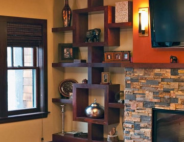 Custom-made built-in shelving unit - Stained cherry