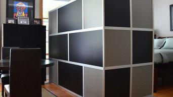 Custom Modern Room Divider, Black & Gray