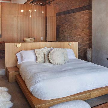 Custom Oak Platform Bed & Plaster Surround Fireplace