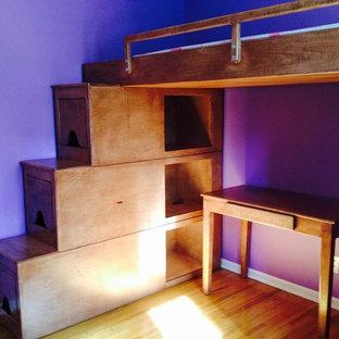Immagine di una camera degli ospiti minimalista con pareti viola, parquet chiaro e nessun camino
