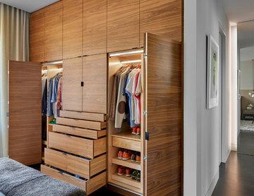 Custom Walnut Wardrobe- Open Position