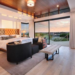 オレンジカウンティの広いコンテンポラリースタイルのおしゃれな主寝室 (白い壁、淡色無垢フローリング、石材の暖炉まわり、横長型暖炉、茶色い床) のインテリア
