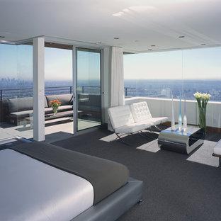 Immagine di una camera matrimoniale moderna di medie dimensioni con moquette, pareti bianche e pavimento grigio