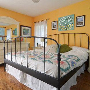 Bedroom - beach style bedroom idea in Dallas with yellow walls