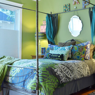 This is an example of a traditional bedroom in Dallas with green walls.