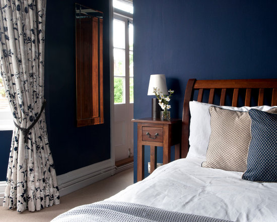 dark blue bedroom | houzz