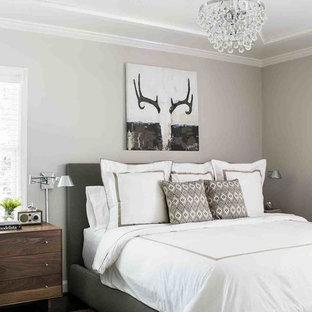 Foto de dormitorio contemporáneo, de tamaño medio, con paredes grises