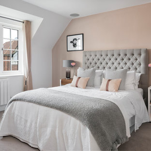 Photo Of A Medium Sized Clic Guest Bedroom In Berkshire With White Walls Carpet And