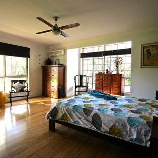 Bedroom - eclectic master bamboo floor bedroom idea in Brisbane with gray walls