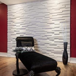 Foto di una piccola camera degli ospiti minimalista con pareti rosse