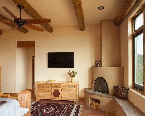 Schlafzimmer mit Eckkamin und Keramikboden einrichten - Ideen ...