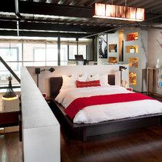 Industrial Bedroom by Melissa Winn Interiors