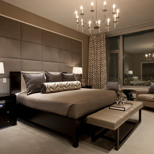 Inspiration for a contemporary carpeted bedroom remodel in Chicago with brown walls
