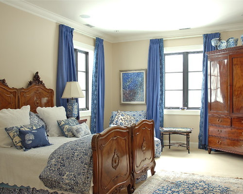 Inspiration for a large timeless master carpeted bedroom remodel in  Montreal with beige walls. Antique Bedroom Furniture   Houzz