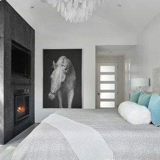 Mittelgroßes Modernes Hauptschlafzimmer mit grauer Wandfarbe, hellem Holzboden, Kamin, Kaminumrandung aus Beton, grauem Boden und gewölbter Decke in Denver