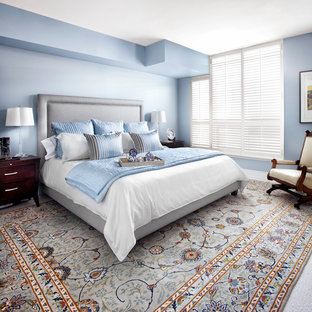 This is an example of a mid-sized transitional master bedroom in Toronto with blue walls, carpet and multi-coloured floor.