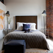 Industrial Bedroom by Amy Bartlam Photography