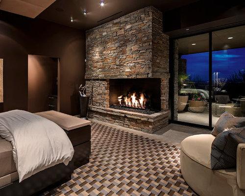 Tappeto soggiorno rosso e bianco - Camera da letto con camino ...