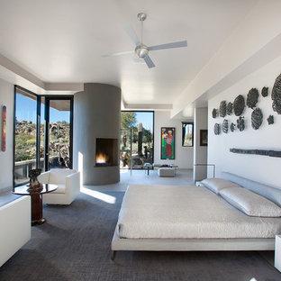 Неиссякаемый источник вдохновения для домашнего уюта: огромная хозяйская спальня в современном стиле с белыми стенами, угловым камином и фасадом камина из штукатурки