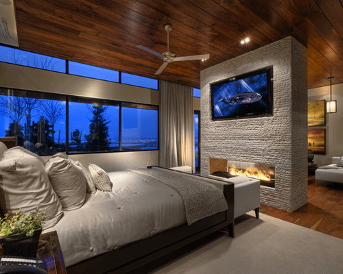 See Through Master Bedroom Fireplace Houzz