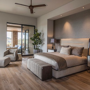 Design ideas for a large contemporary master bedroom in Phoenix with medium hardwood floors, grey walls and brown floor.
