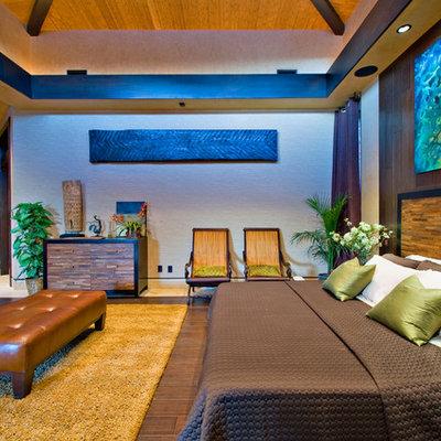 Example of a trendy dark wood floor bedroom design in Las Vegas