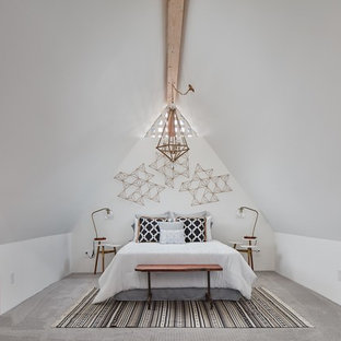 Inspiration for an eclectic master carpeted and gray floor bedroom remodel in Phoenix with white walls and no fireplace