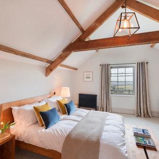 Ejemplo de habitación de invitados de estilo de casa de campo, de tamaño medio, con paredes grises, suelo de madera pintada y suelo blanco