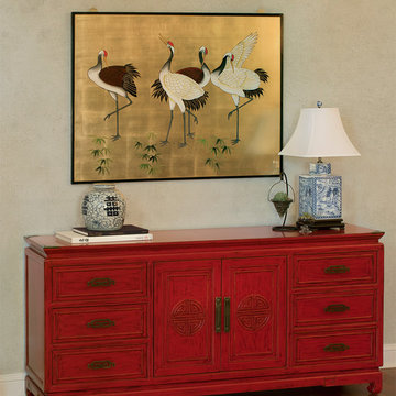 Distressed Red Chinese Longevity Cabinet