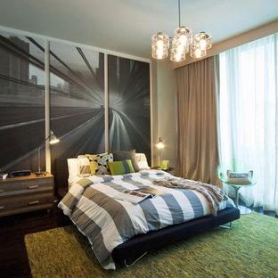 Bedroom - contemporary dark wood floor bedroom idea in Miami