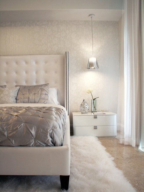 White and silver bedroom design ideas remodels photos for Bedroom ideas silver