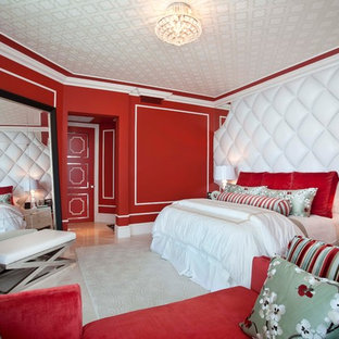 Bedroom - eclectic bedroom idea in Miami with red walls