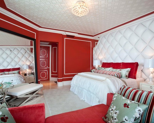 Delightful Eclectic Bedroom Idea In Miami With Red Walls Part 31