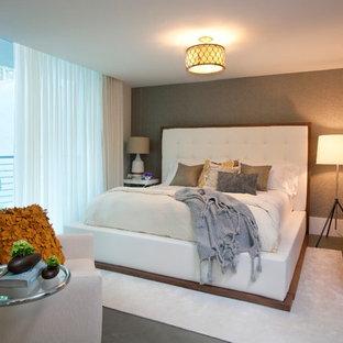 Bedroom - contemporary bedroom idea in Miami with gray walls