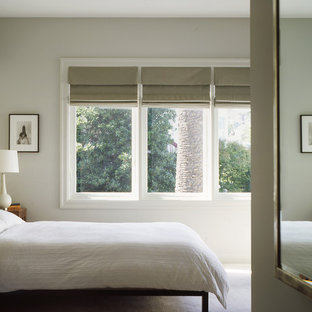 Новый формат декора квартиры: большая хозяйская спальня в классическом стиле с серыми стенами, ковровым покрытием и серым полом без камина