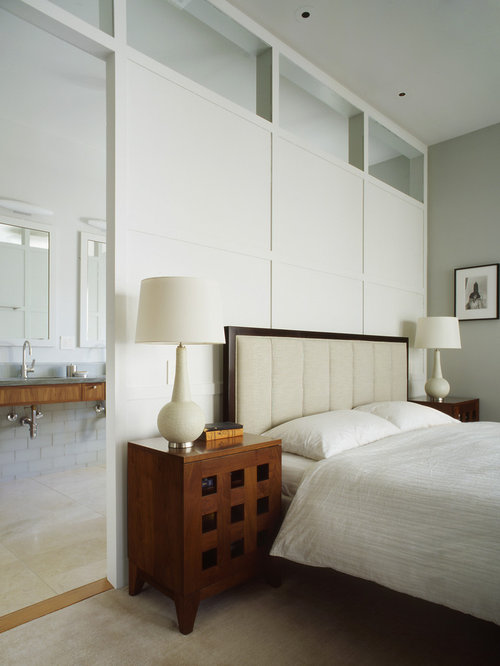 Large Traditional Master Carpeted And Gray Floor Bedroom Idea In San  Francisco With Gray Walls