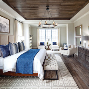 Inspiration for a transitional master dark wood floor bedroom remodel in DC Metro with beige walls and no fireplace