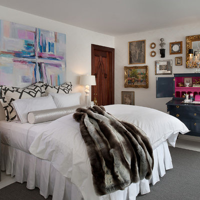 Inspiration for a large eclectic white floor bedroom remodel in New York with white walls and no fireplace