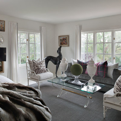 Large eclectic white floor bedroom photo in New York with gray walls and no fireplace